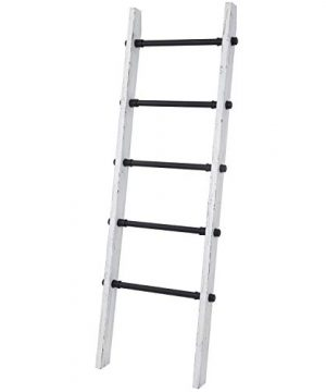 MyGift Industrial Pipe And Vintage Whitewashed Wood Towel Storage Ladder 0 2 300x360