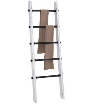 MyGift Industrial Pipe And Vintage Whitewashed Wood Towel Storage Ladder 0 3 300x360