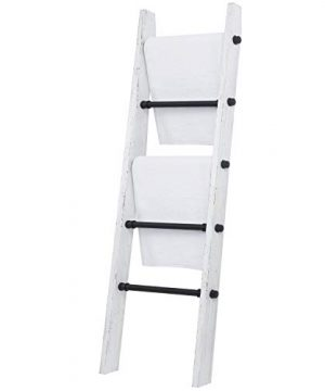 MyGift Industrial Pipe And Vintage Whitewashed Wood Towel Storage Ladder 0 4 300x360