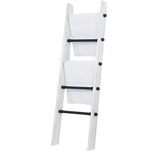 MyGift Industrial Pipe And Vintage Whitewashed Wood Towel Storage Ladder 0 4