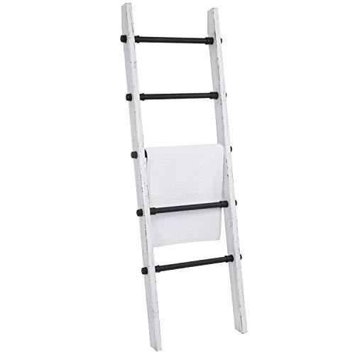 MyGift Industrial Pipe And Vintage Whitewashed Wood Towel Storage Ladder 0