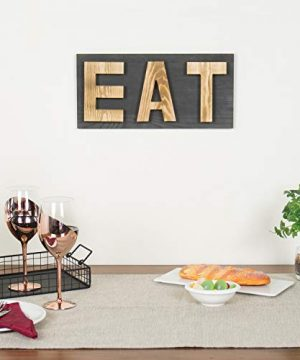 MyGift Rustic Grey Natural Wood Wall Mounted EAT Letter Sign Decor 0 0 300x360