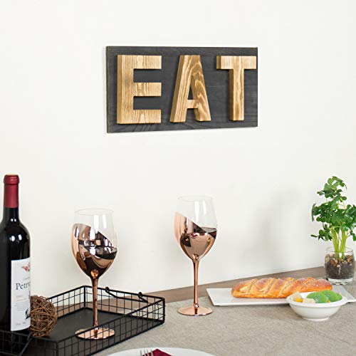 MyGift Rustic Grey Natural Wood Wall Mounted EAT Letter Sign Decor 0 1