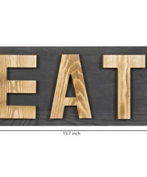 MyGift Rustic Grey Natural Wood Wall Mounted EAT Letter Sign Decor 0 2 300x360