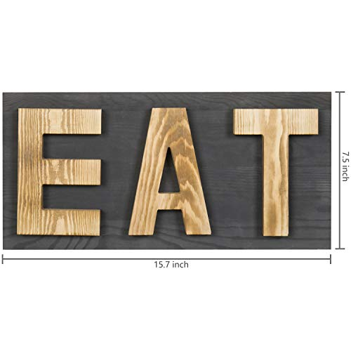 MyGift Rustic Grey Natural Wood Wall Mounted EAT Letter Sign Decor 0 2