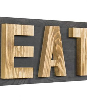 MyGift Rustic Grey Natural Wood Wall Mounted EAT Letter Sign Decor 0 300x360