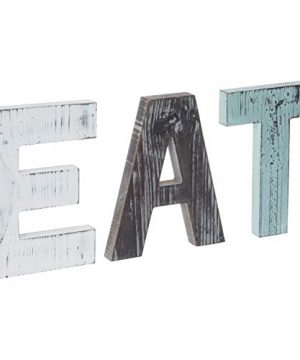 MyGift Rustic Multicolor EAT Cutout Wooden Letters Wall Plaque 0 300x360