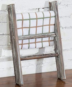 MyGift Rustic Torched Wood Countertop 16 Inch Ladder Kitchen Towel Rack 0 300x360