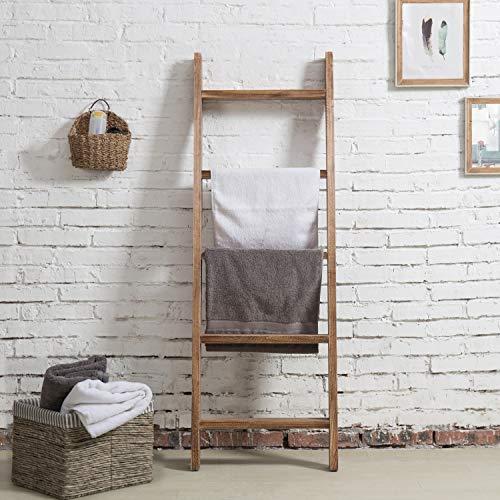 MyGift Wall Leaning Dark Brown Wood Towel Ladder Rack 0 0