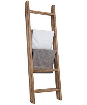 MyGift Wall Leaning Dark Brown Wood Towel Ladder Rack 0 300x360