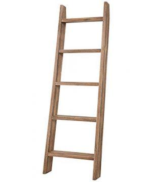 MyGift Wall Leaning Dark Brown Wood Towel Ladder Rack 0 4 300x360