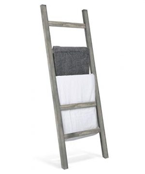 MyGift Wall Leaning Rustic Gray Wood Ladder Style Blanket Rack 0 300x360