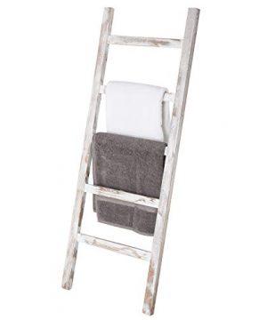 MyGift Wall Leaning Vintage White Wood Ladder Blanket Towel Rack 0 300x360