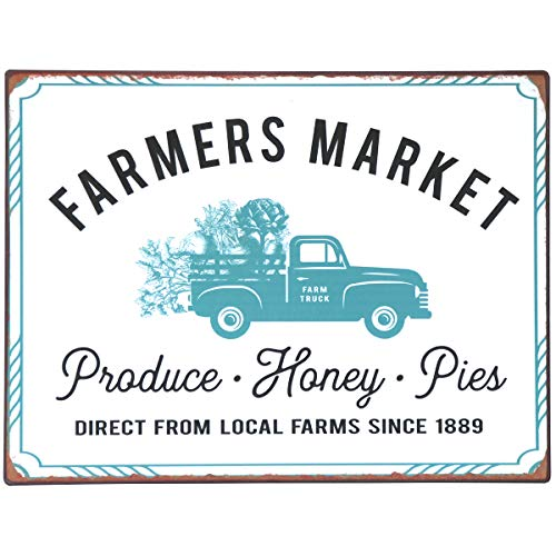 NIKKY HOME 14 X 10 Farmhouse Farmers Market Rustic Metal Wall Sign Plaque 0