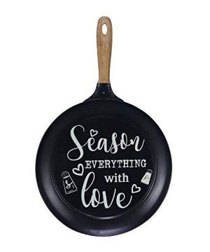 NIKKY HOME 15 X 24 Pan Shaped Metal Wall Kitchen Sign With Quote Season Everything With Love Black 0 300x360