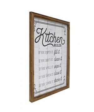 NIKKY HOME 18 X 14 Rustic Farmhouse Wooden Framed Kitchen Rules Wall Sign Plaque 0 0 300x360