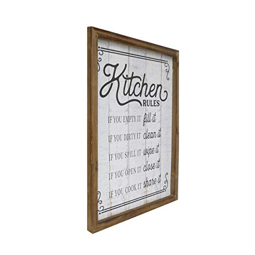 NIKKY HOME 18 X 14 Rustic Farmhouse Wooden Framed Kitchen Rules Wall Sign Plaque 0 0