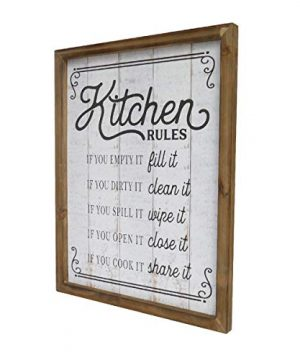 NIKKY HOME 18 X 14 Rustic Farmhouse Wooden Framed Kitchen Rules Wall Sign Plaque 0 1 300x360