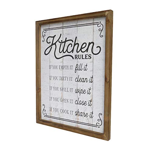 NIKKY HOME 18 X 14 Rustic Farmhouse Wooden Framed Kitchen Rules Wall Sign Plaque 0 1