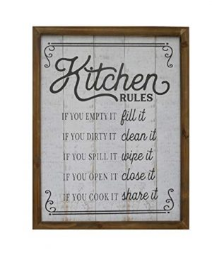 NIKKY HOME 18 X 14 Rustic Farmhouse Wooden Framed Kitchen Rules Wall Sign Plaque 0 300x360
