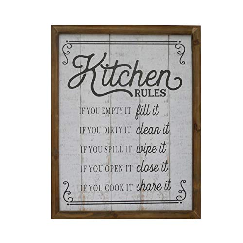 NIKKY HOME 18 X 14 Rustic Farmhouse Wooden Framed Kitchen Rules Wall Sign Plaque 0