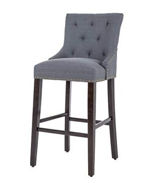 NOBPEINT 30 Inch Bar Stools With Polished Nailhead Wood Legs In Gray 0 300x360