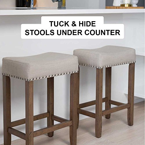 Nathan James Hylie Nailhead Wood Pub Height Kitchen Counter Bar Stool 24 Beige Light Brown Farmhouse Goals