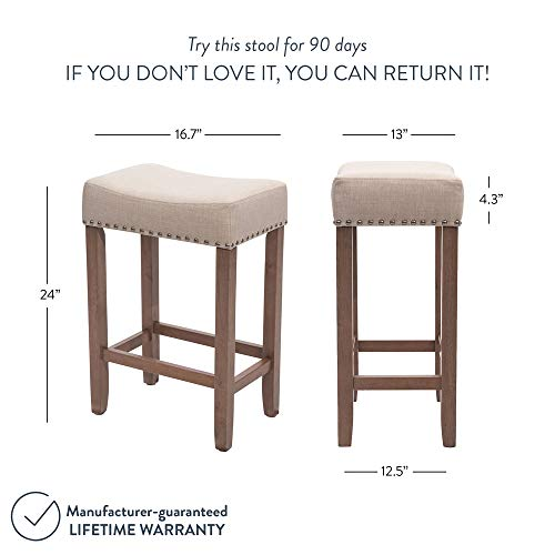Nathan James 21303 Hylie Nailhead Wood Pub Height Kitchen Counter Bar Stool 24 BeigeLight Brown 0 2