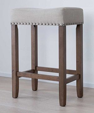 Nathan James 21303 Hylie Nailhead Wood Pub Height Kitchen Counter Bar Stool 24 BeigeLight Brown 0 300x360