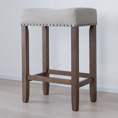 Nathan James 21303 Hylie Nailhead Wood Pub Height Kitchen Counter Bar Stool 24 BeigeLight Brown 0