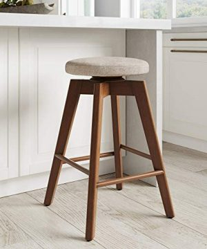 Nathan James Amalia Backless Kitchen Counter Height Bar Stool Solid Wood With 360 Swivel Seat Antique CoffeeNatural Wheat 0 300x360