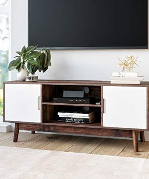 Nathan James Wesley Scandinavian TV Stand Media Console With Cabinet Doors Walnut Brown 0 300x360