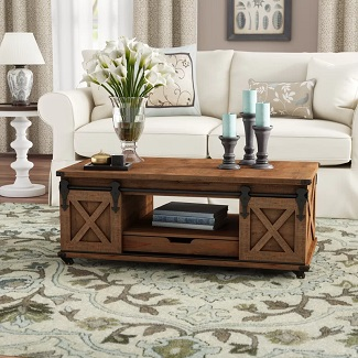 Natural Brown Magnus Solid Wood Wheel Coffee Table with Storage