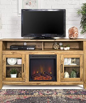 New 58 Inch Wide Highboy Fireplace Television Stand In Barnwood Finish 0 300x360