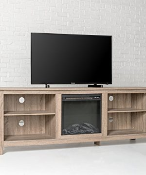 New 70 Inch Wide Fireplace Television Stand In Driftwood Finish 0 0 300x360