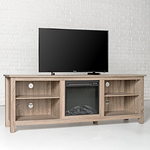 New 70 Inch Wide Fireplace Television Stand In Driftwood Finish 0 0