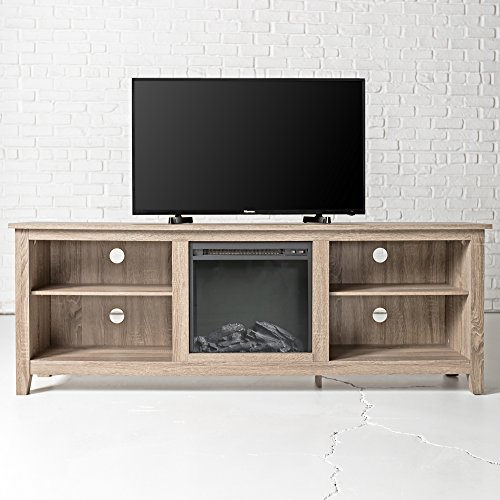 New 70 Inch Wide Fireplace Television Stand In Driftwood Finish 0 1