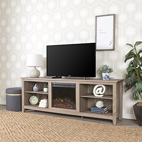 New 70 Inch Wide Fireplace Television Stand In Driftwood Finish 0 2