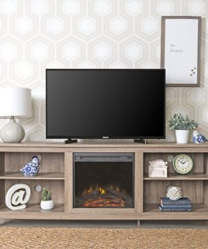 New 70 Inch Wide Fireplace Television Stand In Driftwood Finish 0 300x360