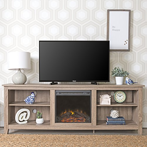 New 70 Inch Wide Fireplace Television Stand In Driftwood Finish 0