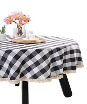 Nobildonna 55Inch Gingham Checkered Tablecloth Black White Checker Round Lace Polyester Tablecloth 0 300x360