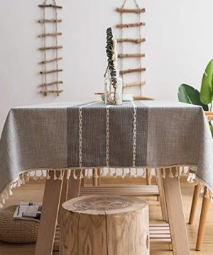 Oubonun Gray Tablecloth 55x70 Embroidered Stitched With Fringe Tassels Rectangle Cotton Linen Fabric Stripe Table Cover Cloth For Kitchen Dining Patio 4 6 Seats 0 300x360