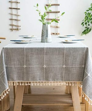 Oubonun Rustic Lattice Tablecloth 55x70 Cotton Linen Grey Rectangle Table Cloths For Kitchen Dining 0 300x360