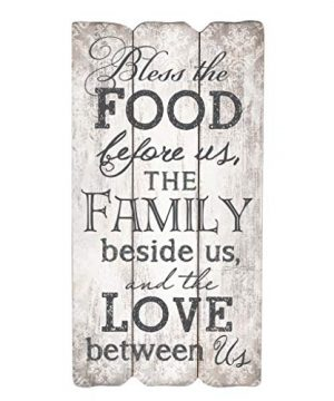 P Graham Dunn Bless The Food Family And Love 12 X 6 Small Fence Post Wood Look Decorative Sign Plaque 0 300x360
