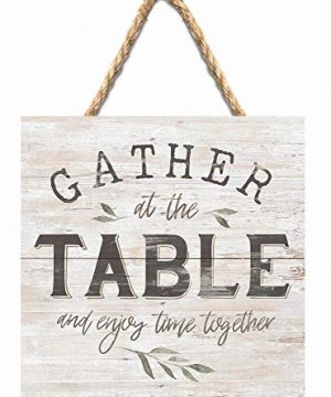 P Graham Dunn Gather At The Table Rustic Whitewash 7 X 7 Inch Wood Pallet Wall Hanging Sign 0 300x360