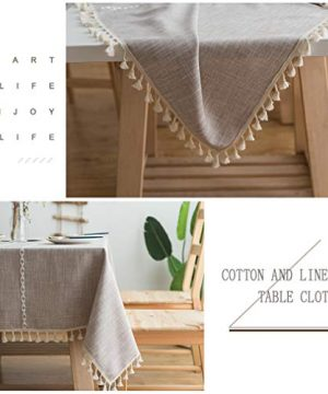 Pahajim Linen Rectangle Tablecloth Table Cloth Heavy Weight Cotton Linen Dust Proof Table Cover For Party Table Cover Kitchen Dinning Maroon Stripe Square55 X 55 Inch 0 1 300x360