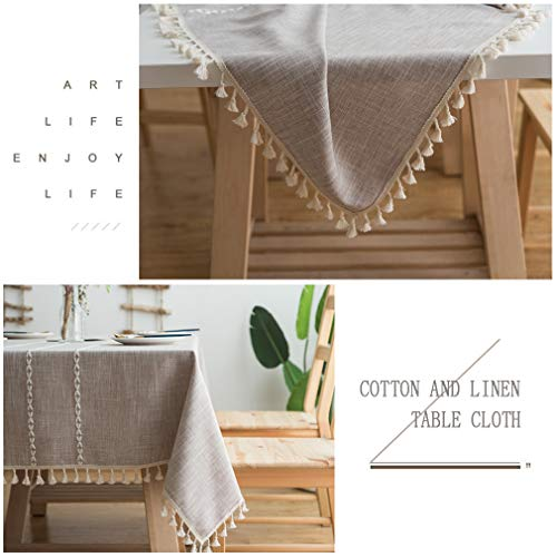 Pahajim Linen Rectangle Tablecloth Table Cloth Heavy Weight Cotton Linen Dust Proof Table Cover For Party Table Cover Kitchen Dinning Maroon Stripe Square55 X 55 Inch 0 1
