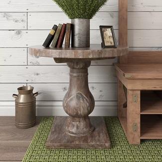 Paris Solid Wood Pedestal End Table