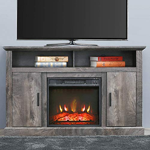 PatioFestival Electric Fireplace TV Stand Entertainment Center Corner Fire Place Heaters Tv Console With Generic Rustic Furniture For TVs Up To 50 Wide Rustic 0 0