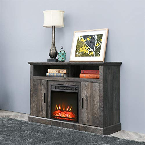 PatioFestival Electric Fireplace TV Stand Entertainment Center Corner Fire Place Heaters Tv Console With Generic Rustic Furniture For TVs Up To 50 Wide Rustic 0 1